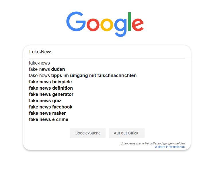 """Google-Suchmaske mit dem Begriff """"Fake-News"""" und Google-Suggest-Keywords zu diesem Begriff, die darunter angezeigt werden"""